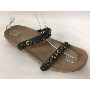 NAOT Sandals Brown Leather Gold Rhinestone Jeweled